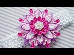 Цветок Канзаши, МК / Kanzashi Flower DIY / Kanzashi Tutorial - YouTube
