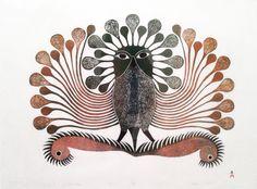 art inuit - Le Corbeau s'impose - 2001 par Kenojuak Ashevak