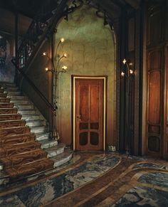 Art nouveau interior ~ Maison Solvay Door, Brussels.  Photography by Evelyn Hofer, 1985.