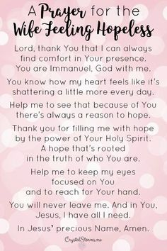 For all the reasons you may feel hopeless, I want to offer you hope. Hope in the only One who will never disappoint. A Prayer for the Wife Feeling Hopeless via Crystal Storms Prayer For My Marriage, Prayer For Wife, Praying Wife, Marriage Help, Godly Marriage, Healthy Marriage, Happy Marriage, Marriage Advice, Love And Marriage