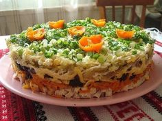 Layered salad with prunes night. Ingredients: Boiled chicken breast - about 300 grams of Raw carrots - 2 PCs Garlic crushed cheese - 150 grams Salted cucumber - 2 pieces Onion - 4 pieces Boiled eggs - PCs. Vegetable oil Mayonnaise Flour - 200 grams of Top Salad Recipe, Salad Recipes, Vegetarian Recipes, Cooking Recipes, Boiled Chicken, Good Food, Yummy Food, Appetizer Salads, Recipes