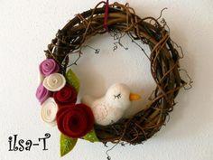 *edler Türkranz für den Frühling*    Dieser Kranz ist eine edle Dekoration für jede Türe oder auch die Wand.    Die Blumen wurden von mir aus Wollfilz