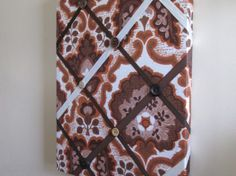 Upcycled Vintage Fabric Notice Board Retro Eames Floral Ribbon Button Brown, New Other Home Decor For Sale in Portarlington, Laois, Ireland for euros on Adverts. Floral Ribbon, Upcycled Vintage, Eames, My Design, Retro, Brown, Fabric, Projects, Home Decor