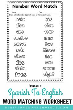 Spanish To English Word Number Matching Worksheet