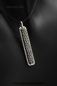 Dog tag wire wrapped pendant - sterling silver industrial mens metal jewelry - hand made wirewraps