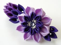 Kanzashi fabric flower french barrette. Floral french by JuLVa