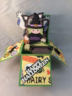 Halloween pop-up box card Pop Up Box Cards, Card Boxes, Popup, 3d, Halloween, Cardboard Boxes, Spooky Halloween, Pop Up