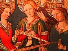 In this last panel painted a little later in 1465 by Nicolás and Martín Zahortiga which is in the Spanish Museo de la Colegiata de Borja, we can see female saints busy with their work. Description from needleprint.blogspot.be. I searched for this on bing.com/images