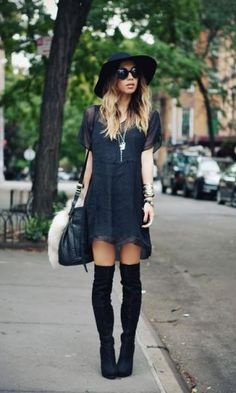 Look All Black + Over The Knee