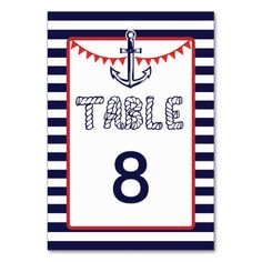 Blue Red Nautical Anchor Bunting Table Number