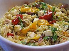 Orzo Salad with Roasted Vegetables (Ina Garten). *** I made this but with pasta. Will need to try it with orzo soon :-) Orzo Salad Recipes, Pasta Recipes, Cooking Recipes, Wing Recipes, Vegetable Recipes, Vegetarian Recipes, Healthy Recipes, Vegetable Pasta, Roasted Vegetables Barefoot Contessa