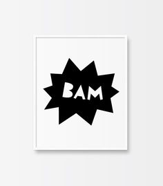 Free Kid's Room Print. 'POW' comic style printable art. Scandinavian art. Black and white print.