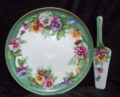 pansy china plates | plate and server this fantastic serving set of a porcelain cake plate ...