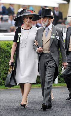Prince and Princess Michael of Kent arriving. No one looks as good with an eye patch as Princess Michael of Kent.