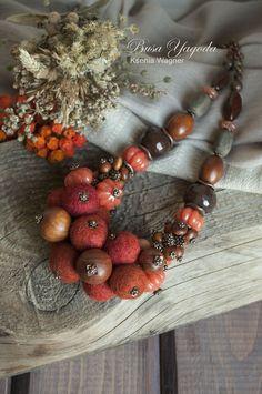 """Купить Колье """"Рябиновое"""" - рыжий, Рябина, осенние краски, осенние ягоды, осенний урожай, осень"""