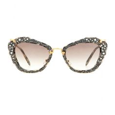 Miu Miu - Embellished cat-eye sunglasses - Statement shades are the ultimate finishing touch to a warm-weather look. Take these retro-inspired frames from Miu Miu - the subtly tortoiseshell-printed cat-eye shape is embellished with beads and crystal embellishment, promising an instantly glamorous update. seen @ www.mytheresa.com