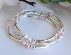 Crystal Bracelets Silver Bangles Stretchy Set of Three image 0 Swarovski Bracelet, Silver Bangle Bracelets, Crystal Bracelets, Crystal Jewelry, Sterling Silver Necklaces, Beaded Jewelry, Jewelry Bracelets, Silver Earrings, Pink Jewelry