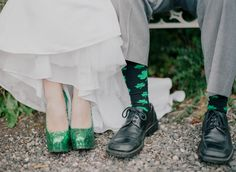 green sparkly wedding shoes