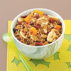 Ultimate Fruity Granola Recipe -Honey, maple syrup and vanilla coat this wonderfully crunchy treat that's fantastic no matter how you serve it—on its own, with cold milk, or in a yogurt parfait. —Sarah C. Vasques, Milford, New Hampshire