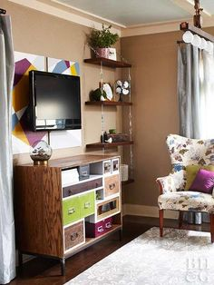 Create a mini entertainment center by turning your TV wall into a focal point with a console that can double as a serving surface when you're entertaining. - 20 Small Space Hacks to Make Your Studio Apt Seem HUGE via Brit + Co. My Living Room, Small Living, Living Spaces, Small Apartments, Small Spaces, Studio Apartment Decorating, Apartment Ideas, Small Room Design, Hanging Shelves