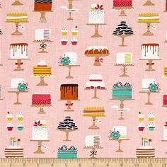 Michael Miller Bake Shop Sweet Cakes Confection from @fabricdotcom  Step into Bake Shop, where you can taste the sugar in the air and you are surrounded by beautiful confections! Designed by Patty Solinger for Michael Miller Fabrics, this cotton print collection features charming baked goods and coordinating prints, from macarons to donuts! From shop fronts, to receipts, spools of thread, and windowpanes. Perfect for quilting, apparel, and home decor accents. Colors include shades of pink…