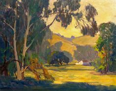 """Harvey B Colman """"California Farm House"""" 16x20 Oil on Board"""