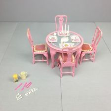 Vintage BARBIE SWEET ROSES DINING SET - EUC 1984 Table & Chairs Furniture Lot