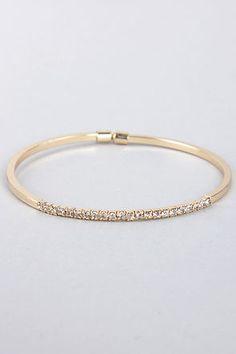 petite gold rhinestone bracelet / lulu's