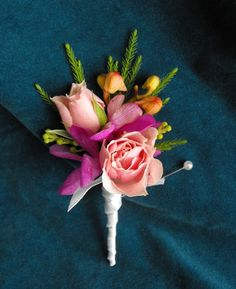 Pink Rose and Orchid Boutonniere