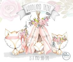 Teepee Fox Watercolor Clipart by Monique Digital Art Watercolor Feather, Watercolor And Ink, Wreath Watercolor, Fuchs Baby, Woodland Nursery Prints, Creative Sketches, Planner Stickers, Pencil Illustration, Woodland Animals