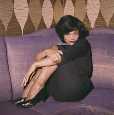 American singer and actress, Eartha Kitt pictured wearing a black dress and sitting on a couch in Get premium, high resolution news photos at Getty Images Vintage Black Glamour, Vintage Beauty, Vintage Style, Vintage Fashion, Black Girl Magic, Black Girls, Black Actresses, My Black Is Beautiful, Gorgeous Girl