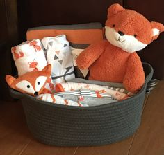 Baby gift baskets white horse relics unique themed baby gift finley fox baby gift basket negle Images