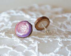 Pink pearls stud earrings handpainted on wood by MyPieceOfWood