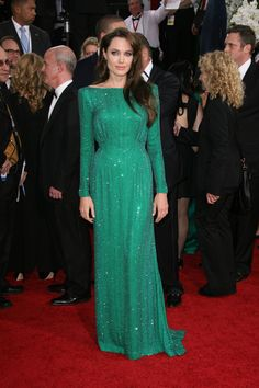 Angelina Jolie long green dress sequins  emerald earrings