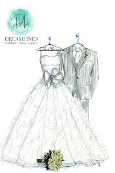 Personalized sketch of her wedding day. A gift to take her breath away. Her wedding dress sketched and framed. #weddingdresssketch #dreamlinesweddingdresssketch #dreamlinessketch #anniversarygift #weddinggift #bridegift #bridalshowergift Romantic Gifts For Wife, Best Gift For Wife, Wedding Dress Sketches, Wedding Gowns, Wedding Vendors, Year Anniversary Gifts, Different Dresses, Wedding Frames, Bride Gifts