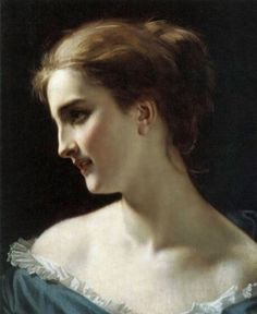 Hugues Merle (French, 1823-1881): A Portrait of a Woman (Oil on canvas)