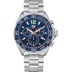 Tag Heuer Formula 1 Chronograph caz1014.ba0842 Watch ($1,080) ❤ liked on Polyvore featuring men's fashion, men's jewelry, men's watches, stainless steel, mens stainless steel watches, mens blue watches, mens chronograph watches, tag heuer mens watches and mens orange watches