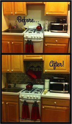 Temporary backsplash for renters! Looks like stainless steel, but it's so much cheaper.