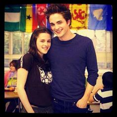 Kristen Stewart and Robert Pattinson as Bella and Edward. Behind the scenes of Twilight.