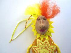 Sunshine Goddess, Mountain Dolls One of a Kind Art Doll, OOAK. $25.00, via Etsy.