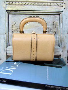 Vintage 50s Lunchbox Leather Handbag Luggage