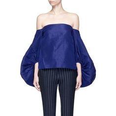Rosie Assoulin Balloon sleeve silk faille off-shoulder top