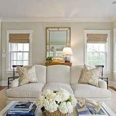 Light Khaki Paint Colors, Cottage, Living Room, Benjamin Moore Nantucket Breeze, Design New England