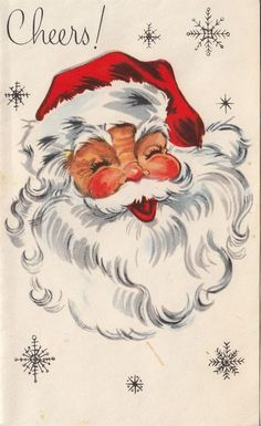 Vintage Greeting Card Christmas Santa Claus Face Head i294