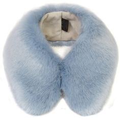 Helen Moore Powder Blue Faux Fur Shirt Collar