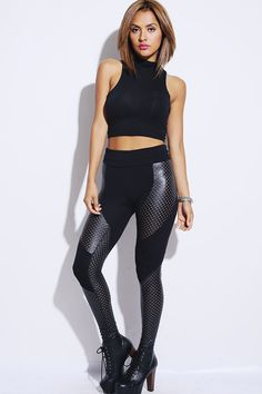 #1015store.com #fashion #style black faux perforated leather double panel fitted clubbing leggings-$15.00