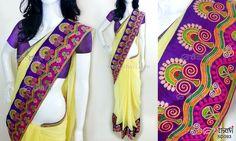 Light yellow chiffon saree CODE: SD093 PRICE: Rs.3760 SAREE: Light yellow chiffon saree with intricate multicoloured kutch work border on purple raw silk BLOUSE: Purple cottonsilk material