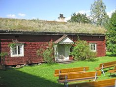 Originallly built in the 1600's, this house has the traditional Swedish 'torvtak' - a grass roof