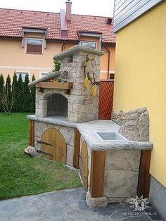 Outdoor Garden Bar, Outdoor Barbeque, Pizza Oven Outdoor, Backyard Kitchen, Outdoor Kitchen Design, Backyard Patio, Design Barbecue, Brick Bbq, Cinder Block Garden