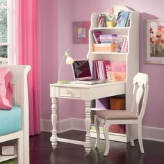 Bookcase Desk - great for girls bedroom My New Room, My Room, Girls Bedroom, Bedroom Decor, Bedding Decor, Childrens Bedroom, Crib Bedding, Study Table Designs, Bookcase Desk